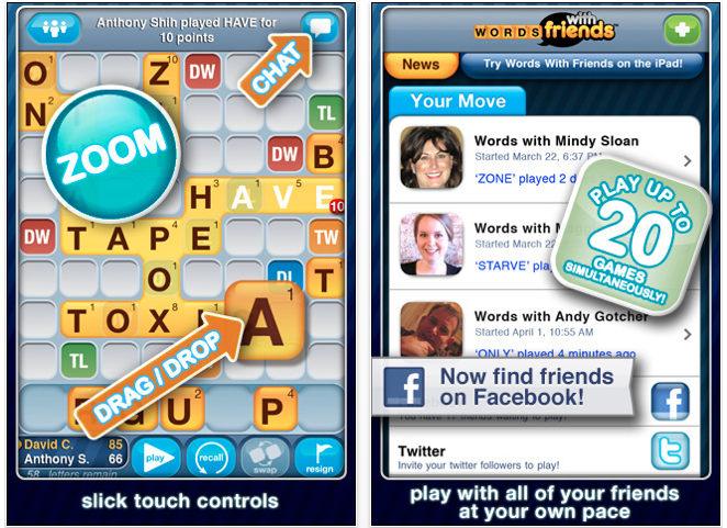 words with friends facebook connect