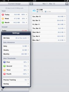DataMan (iPad 3G) - Settings