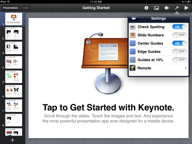 Keynote on iPad