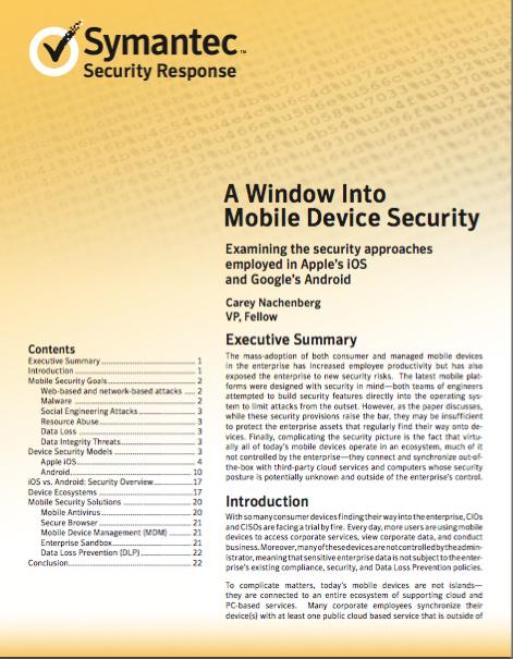 Symantec: A Window Into Mobile Device Security