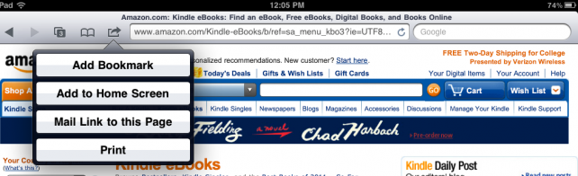 Adding Kindle Store Shortcut
