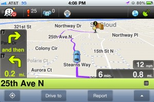 Waze GPS and Traffic version 2.4 (iPhone 4) - Directions