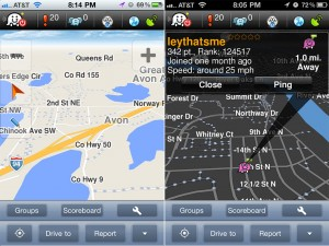 Waze GPS and Traffic version 2.4 (iPhone 4) - Day and Night