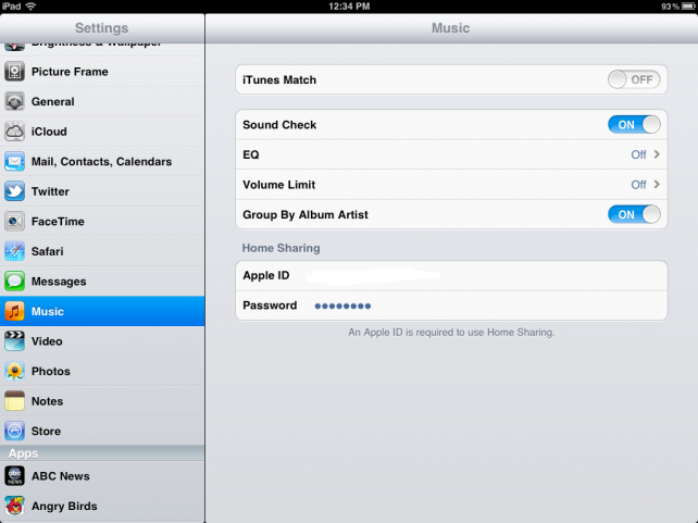 iTunes Match - Setting Up On iPad