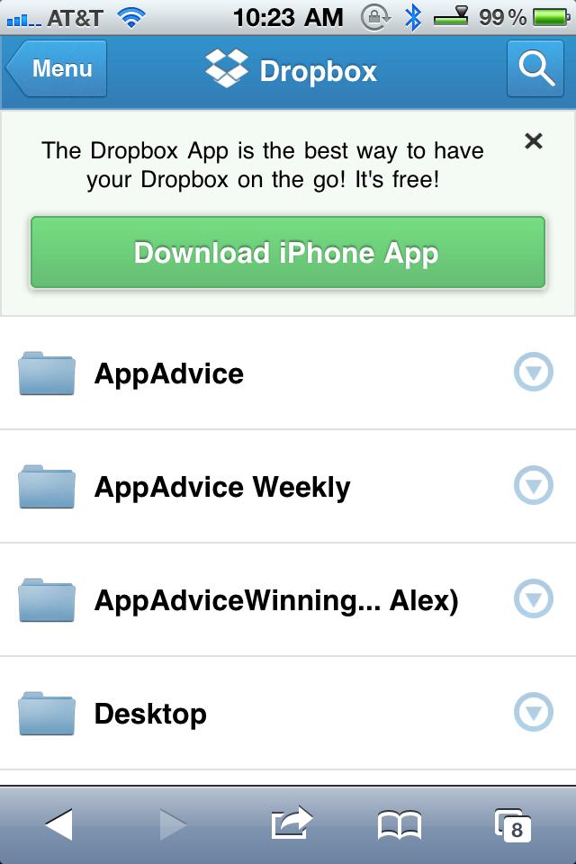 Dropbox má novou webovou aplikaci pro iOS