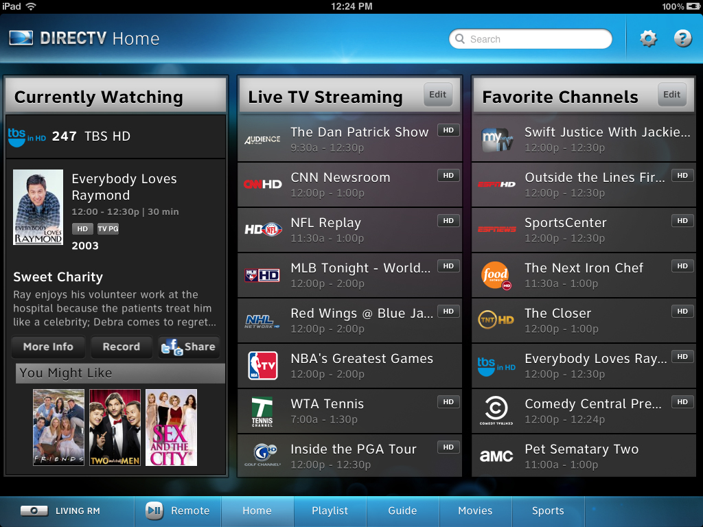 directv for ipad updated with live tv streaming and additional recording options. Black Bedroom Furniture Sets. Home Design Ideas