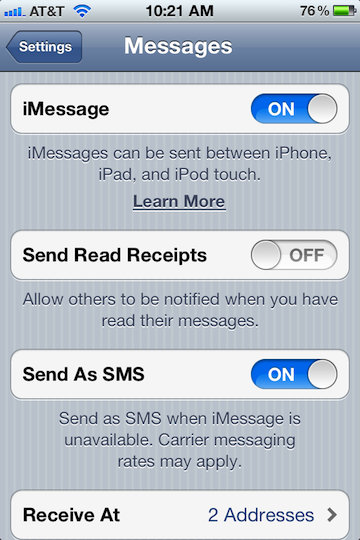 iMessage Setup - iPhone