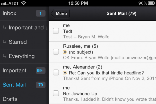 Gmail - Menu On iPhone