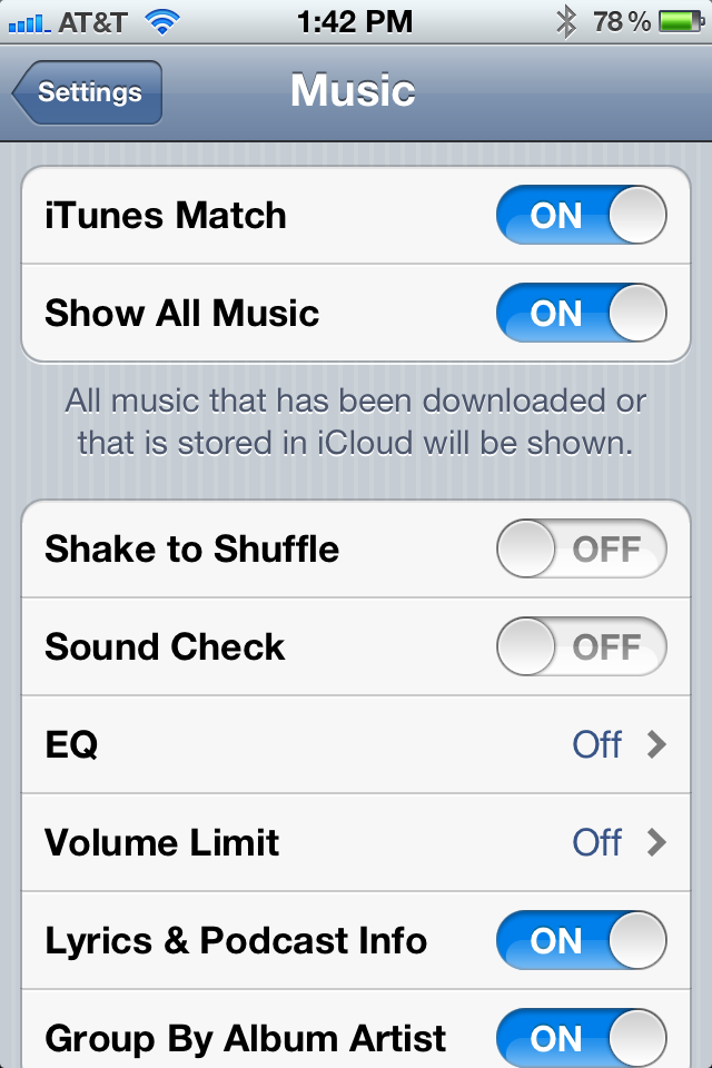 Turning On iTunes Match