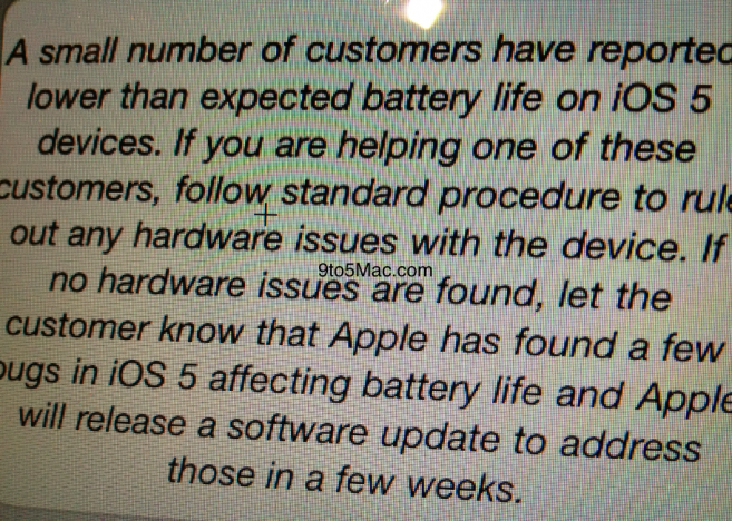 Apple Memo Concerning iPhone 4S Battery Issues