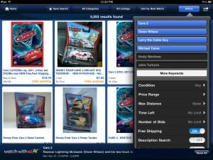 eBay (iPad 2) - Refine Menu