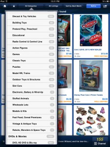 eBay (iPad 2) - Categories Menu