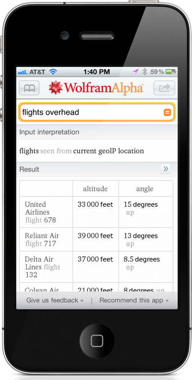 WolframAlpha Brings Overhead Flight Tracking To iOS