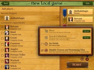 Carcassonne version 2.4 (iPad) - Expansion And Limitation Settings