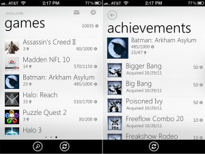 My Xbox LIVE (iPhone 4) - Games and Achievements