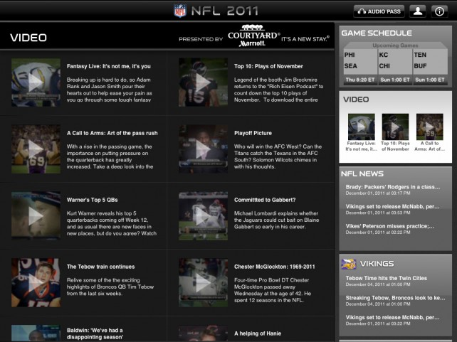 NFL '11 For iPad Updated With Access To Thursday Night Football Online Broadcast (Updated)