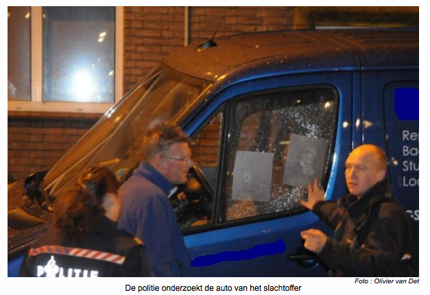 Police in Rotterdam examine the victim's vehicle