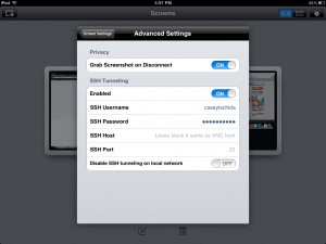 Screens VNC version 2.0 (iPad 2) - Advanced Settings
