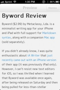 Byword by Metaclassy, Lda. screenshot