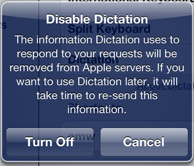 Disabling Dictation On New iPad