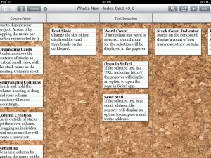 Index Card version 3.0 (iPad 2) - Column View