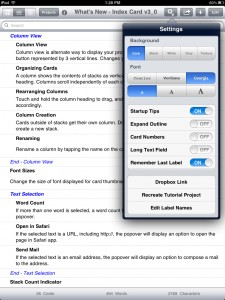 Index Card version 3.0 (iPad 2) - List View with Settings