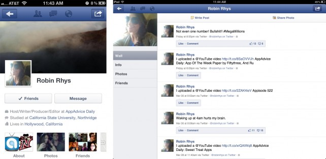 Facebook version 4.1.1 - Timeline of iPhone vs. iPad
