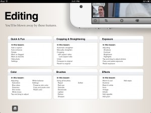Hello iPhoto for iPad and iPhone - Sections