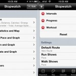 Runmeter version 7.0 (iPhone 4) - Stopwatch Settings