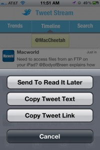 TweetStream version 1.1 (iPhone 4) - Pocket (Read It Later)