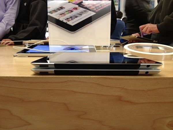 Gen 3 iPad on top; iPad 2 on bottom.