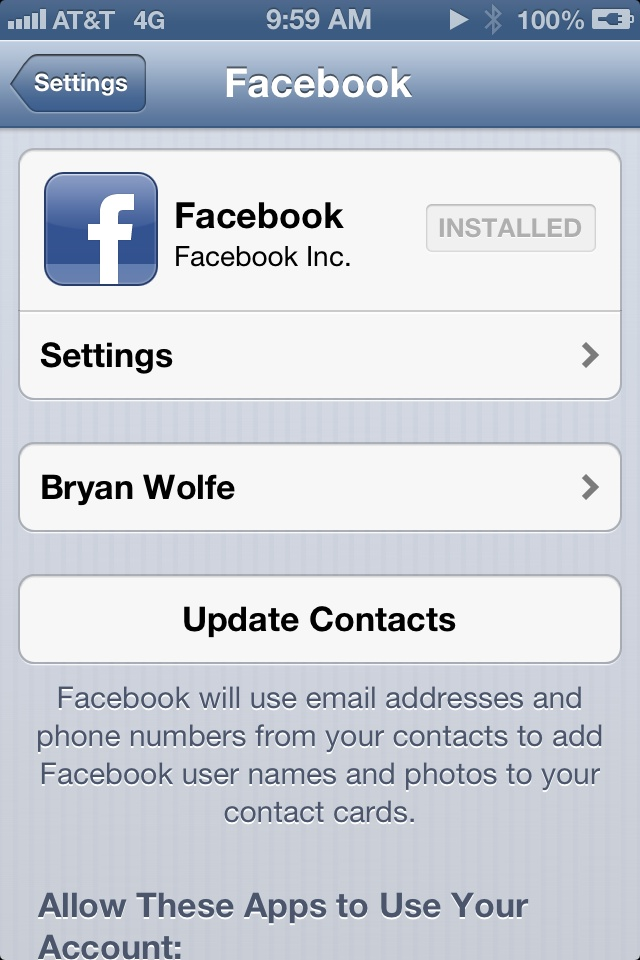 Facebook iOS integration