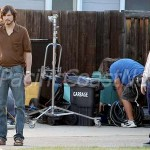 **EXCLUSIVE** FIRST ON SET PHOTOS - Ashton Kutcher channels Steve Jobs for the first day of shooting &quot;Jobs&quot; at the tech moguls childhood home with co-star Josh Gad