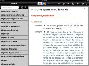 English-Spanish Unabridged Dictionary version 2.3 (iPad 2) - Idiomatic Expression
