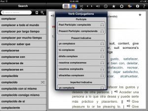 English-Spanish Unabridged Dictionary version 2.3 (iPad 2) - Verb Conjugations