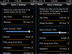 MotionX-Sleep version 3.0 (iPhone 4) - Alarms