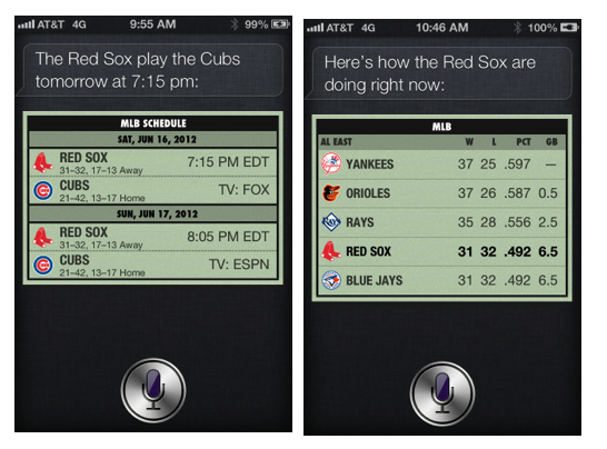 Siri on iOS 6: Play ball!