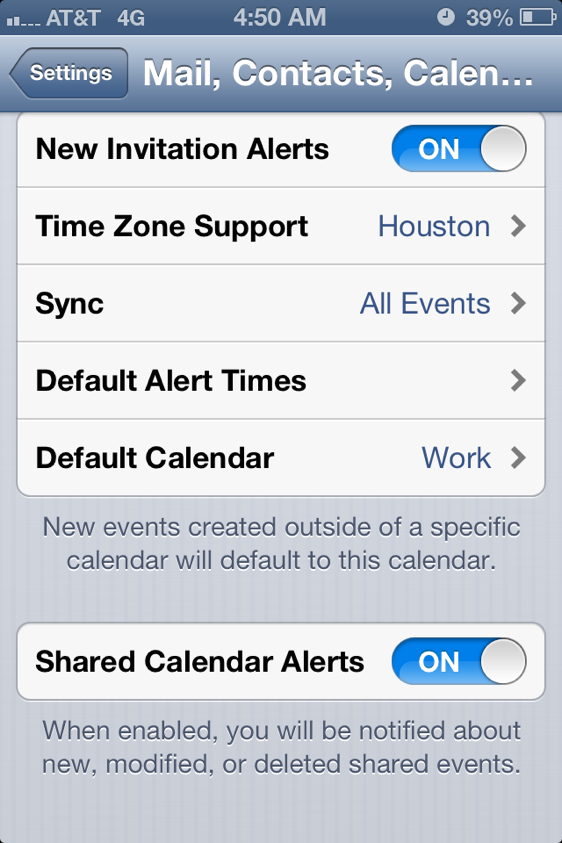 Shared Calendar Alerts