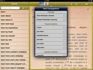 English-Spanish Unabridged Dictionary version 2.4 (iPad 2) - Verb Conjugations