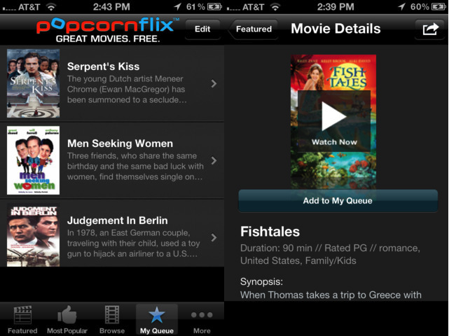Popcornflix, iPhone