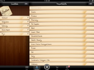 Shopp version 1.1 (iPad 2) - Locations and Departments