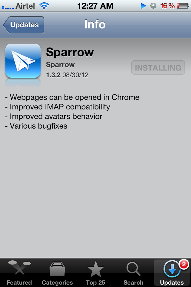 Sparrow For iPhone 1.3.2