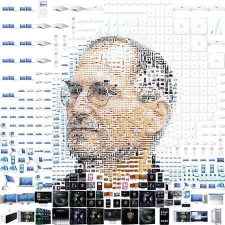 Obrázek Steva Jobse složený z Apple produktů