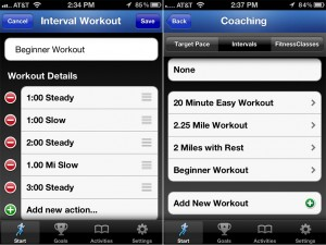 RunKeeper version 2.7 - Training Plans / Workouts