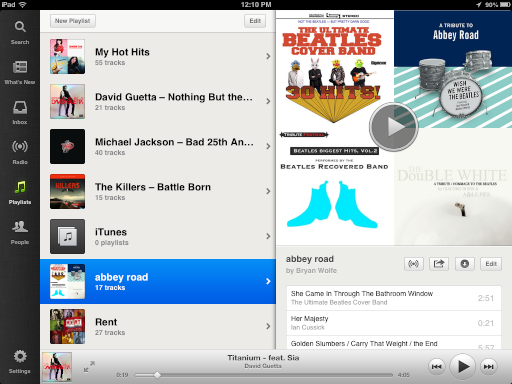 Music titles moved to Spotify for iPad