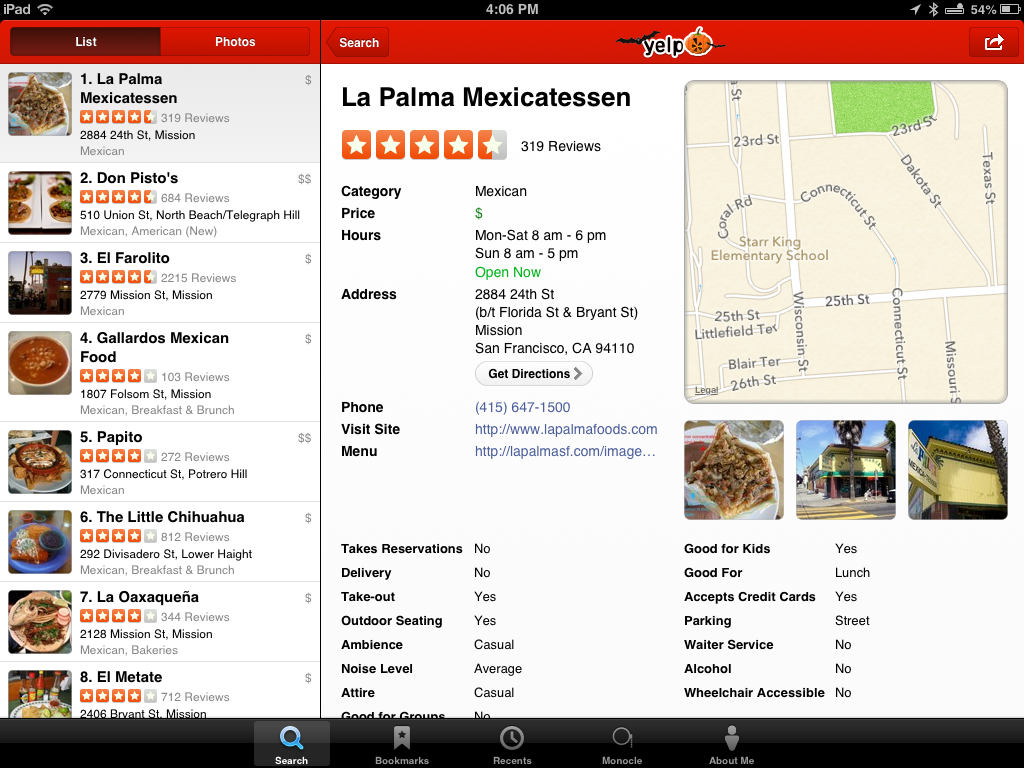 Yelp on iPad
