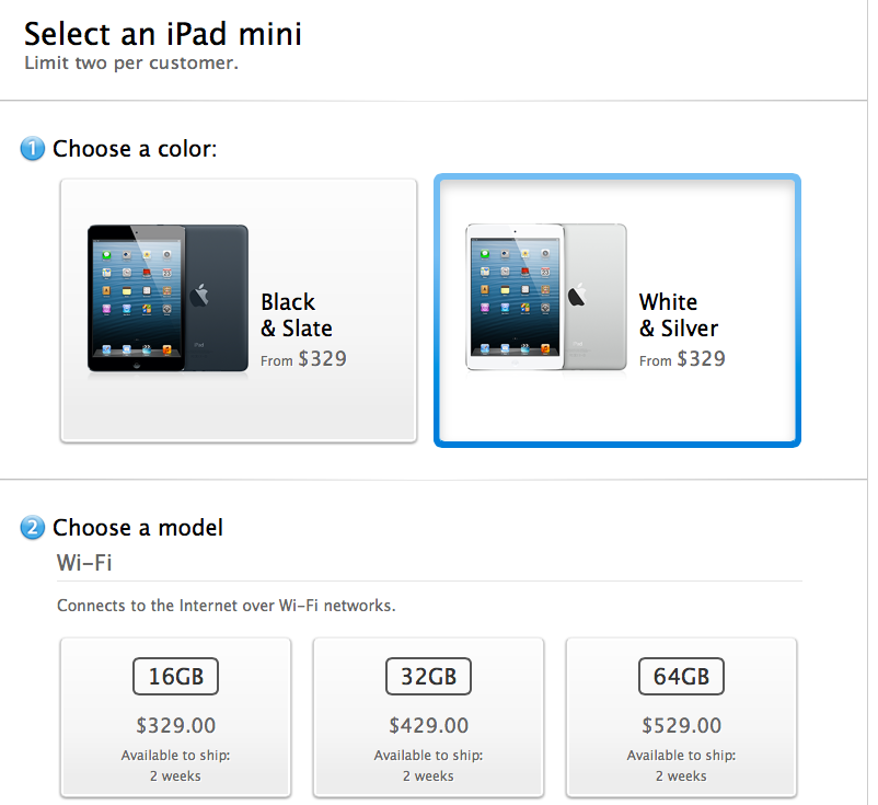 The white iPad mini ... Going, going, gone