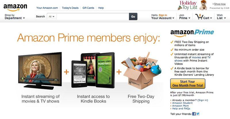 Amazon Prime, $7.99 per month
