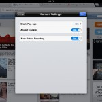 Chrome version 23.0.1271.91 (iPad 2) - Content Settings