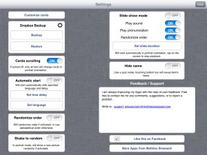 EducaVroom verison 1.5 (iPad 2) - Settings